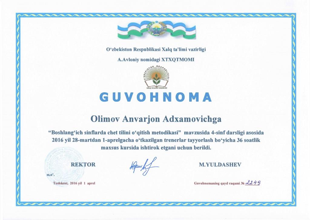 Certificate Tashkent